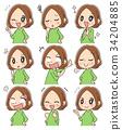 做各種各樣的表情的套婦女 34204885