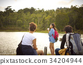 young girl is viewing scene on a riverside with her friends 34204944