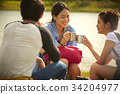 young travellers are relaxing on a camping trip by the river 34204977