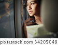 a young female traveler is looking outside of a truck 34205049