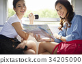 two female travelers with map and camera are smiling on a train 34205090