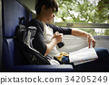 The man is reviewing a map when sititng on a train 34205249