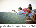 The girl is taking a photo very nice and her friends are looking her 34205260
