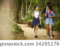 Friends are walking in the national park 34205276