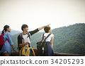 three excited travellers are seeing something in forest 34205293