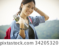 a young beautiful lady with a flask of water in hand is smiling and posing 34205320