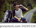 an asian man is sitting nearby backpack and drinking water 34205330