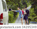 a dynamic woman and friends are waiting and waving car in forest 34205349