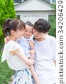 ครอบครัวของทั้งสามครอบครัวเพื่อนที่ดีกอดกัน 34206429