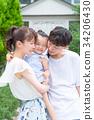 ครอบครัวของทั้งสามครอบครัวเพื่อนที่ดีกอดกัน 34206430