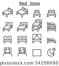 Bed icon set in thin line style 34206680