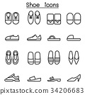 Shoes icon set in thin line style 34206683