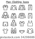 Men clothes icon set in thin line style 34206686