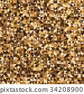 Pixelated yellow mosaic check pattern background 34208900