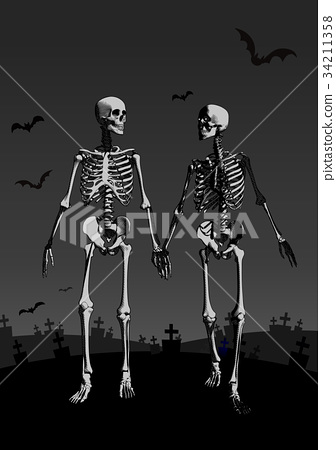 A couple of skeleton lover illustration on dark BG 34211358