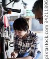老年人和妇女修理自行车 34211896
