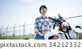 跨騎自行車的女人 34212332