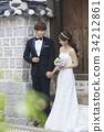 미소, 신혼부부, 실외 34212861