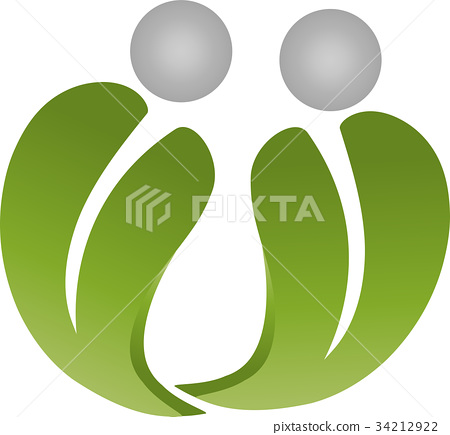 Two people as leaves, nature and spa logo 34212922