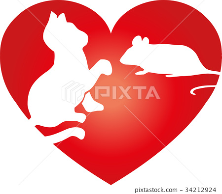 Cat, mouse and heart, animals logo 34212924
