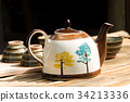ceramic teapot with cup 34213336