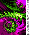 Pink and green spiral abstract fractal pattern 34213830