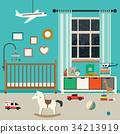 Baby room interior. 34213919