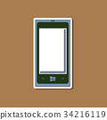 paper sticker on background of mobile phone 34216119
