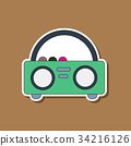 paper sticker on background of tape recorder 34216126