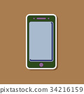 paper sticker on background of mobile phone 34216159