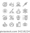 Nuclear line icon set.  34216224