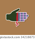 paper sticker on stylish background bloody hand 34216673