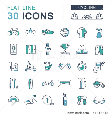Set Vector Flat Line Icons Cycling 34216818