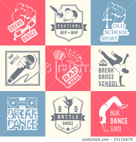 Vector Set of Badges, Logos and Sign Break Dance 34216879