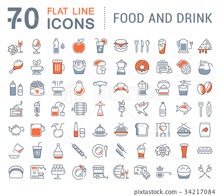 Set Vector Flat Line Icons Drinks and Food 34217084