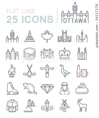 Set Vector Flat Line Icons Ottawa 34217178