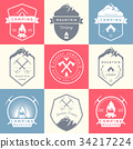 Set of Vector Badges Camping and Hiking 34217224