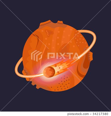 Mars Icon on Dark Background 34217380