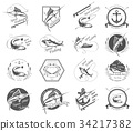 Big Set of Logos, Badges and Icons Spearfishing 34217382