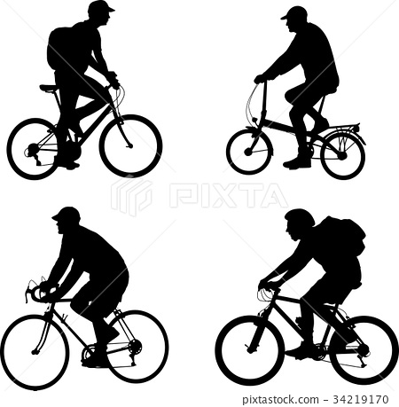 bicyclists silhouettes set 34219170