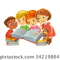 Cute children reading books 34219864