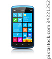 Modern smartphone with touchscreen interface 34221252