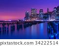 New York city skyline at night, Manhattan, USA 34222514