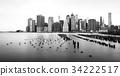 Manhattan skyline, black and white, New-York, USA 34222517