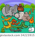 cartoon wild animal characters group 34223915