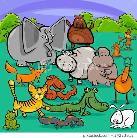 cartoon wild animal characters group 34223915