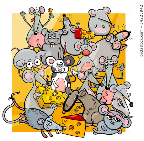 cartoon mice and rats with cheese 34223942