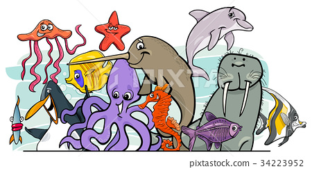 Cartoon sea life animal characters group 34223952