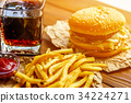 Burger on craft paper with fries and coke on 34224271