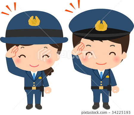 police officer, salute, grin 34225193